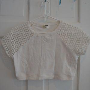 Whit LF fish net sleeved crop top